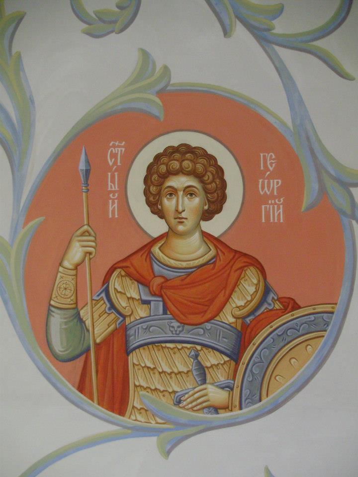 Роспись нижнего придела в честь великомученика Пантелеймона в Преображенском храме в Усть-Курдюме